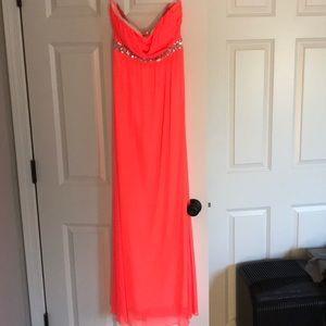 Neon coral long dress